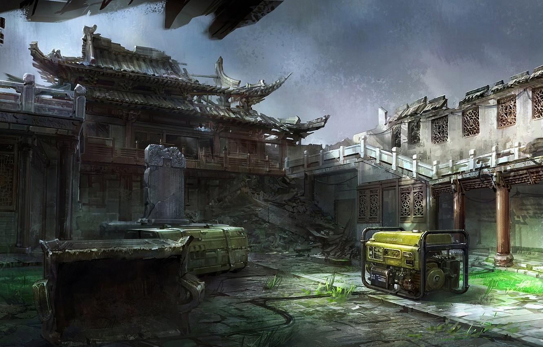 Photo wallpaper the wreckage, Asia, art, yard, temple, devastation, ruins, installation, Mourad, generator