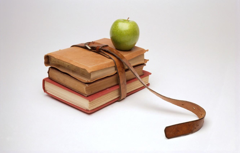 Photo wallpaper books, Apple, minimalism, strap, knowledge