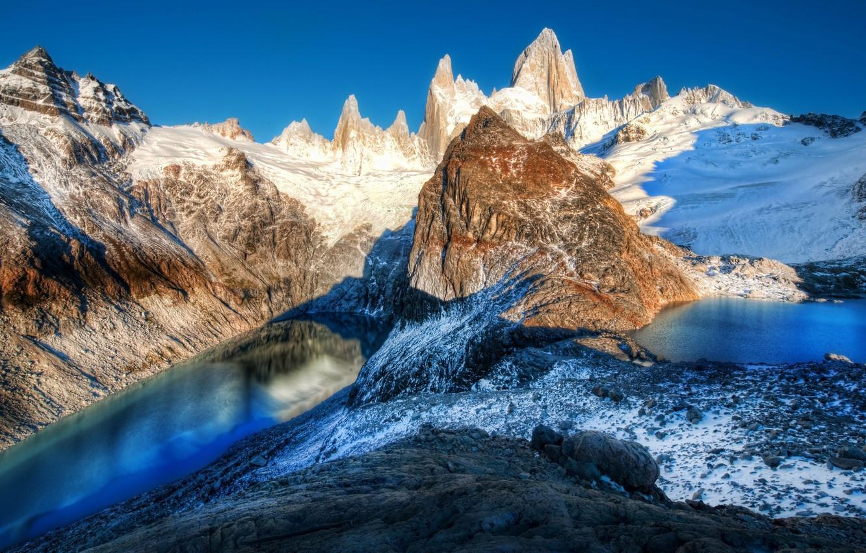 Photo wallpaper snow, mountains, lake