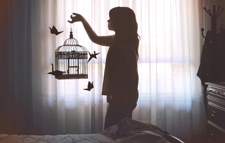 Photo wallpaper girl, cell, cranes