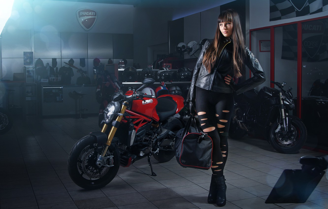 Photo wallpaper Girl, Light, Ducati, Monster, Studio, Motorcycle, Bags, 1200s, Leather Jackets