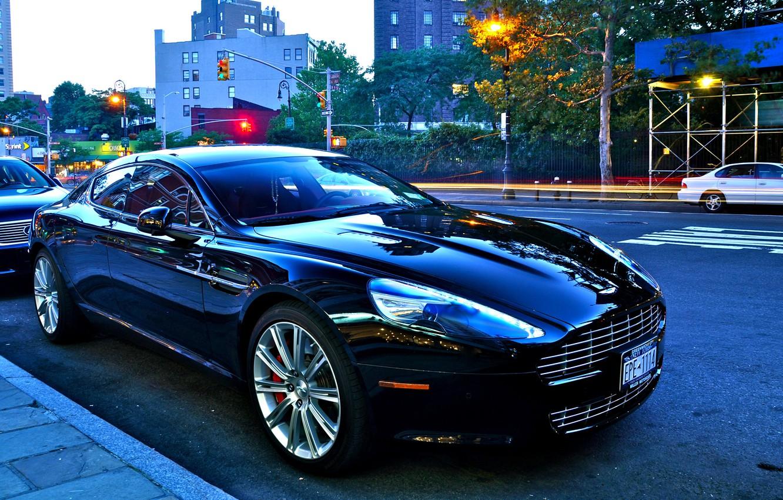 Photo wallpaper Aston Martin, street, Shine, black, V8 vantage