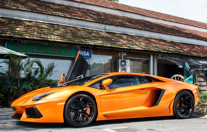 Photo wallpaper Lamborghini, Orange, LP700-4, Aventador