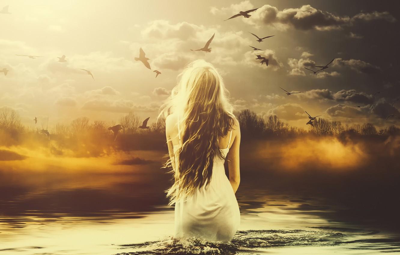 Photo wallpaper girl, birds, art, in the water, melancolia
