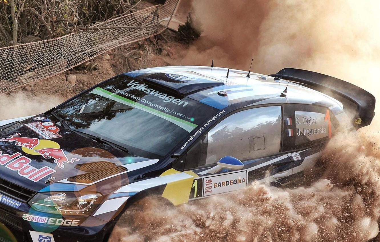 Photo wallpaper Dust, Volkswagen, WRC, Rally, Polo, Ogier, VW
