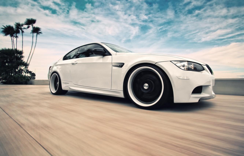 Photo wallpaper white, the sky, clouds, BMW, speed, BMW, white, E92