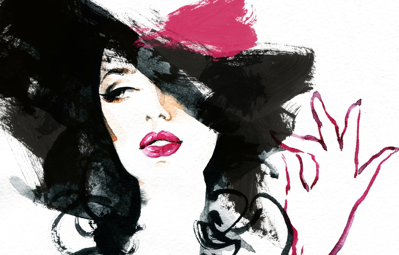 Photo wallpaper eyes, girl, face, hand, picture, brunette, watercolor, lips, image, hat, painting, Wallpaper from lolita777