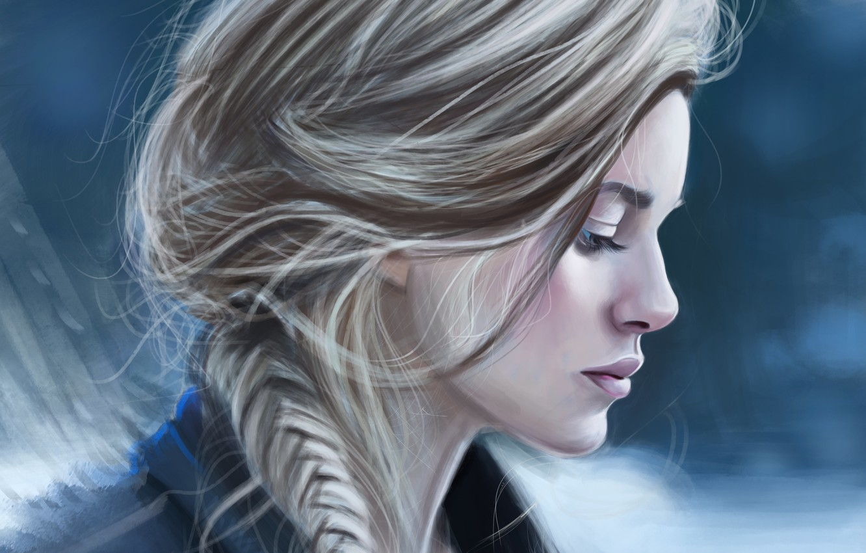 Photo wallpaper look, girl, hair, art, profile