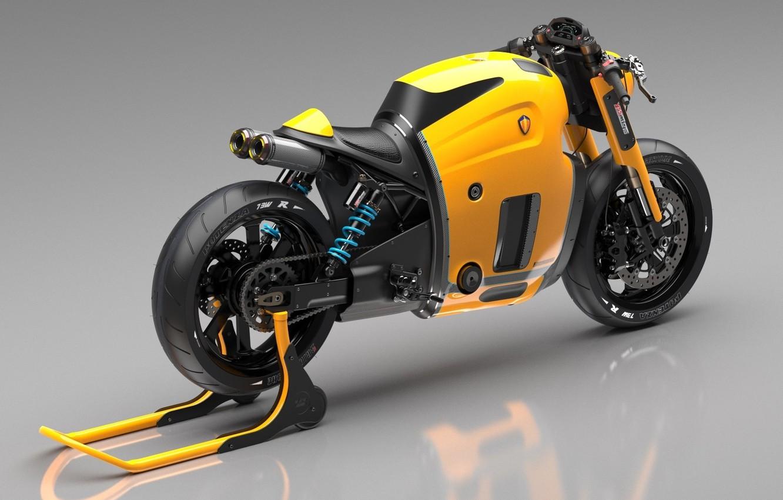 Photo wallpaper Concept, Koenigsegg, Yellow, Bike, Wheels, Brake, Rear