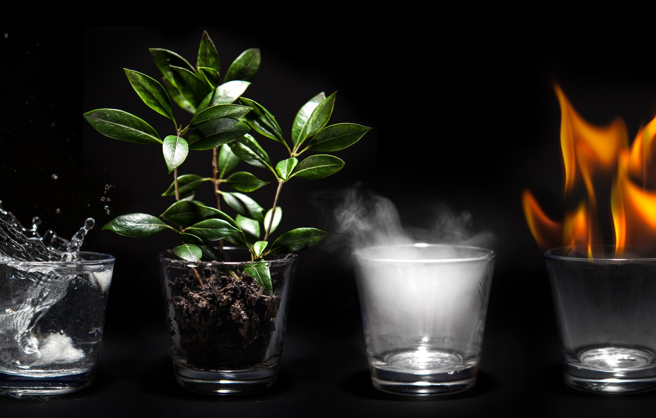 Wallpaper Earth Fire Water Air 4 Elements Glass Cup Images For