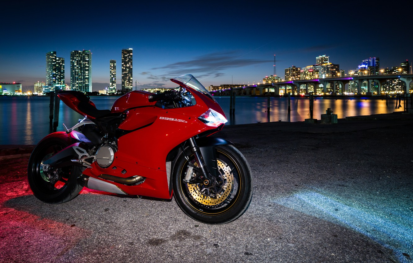 Photo wallpaper red, the city, lights, motorcycle, red, twilight, ducati, Ducati, 899