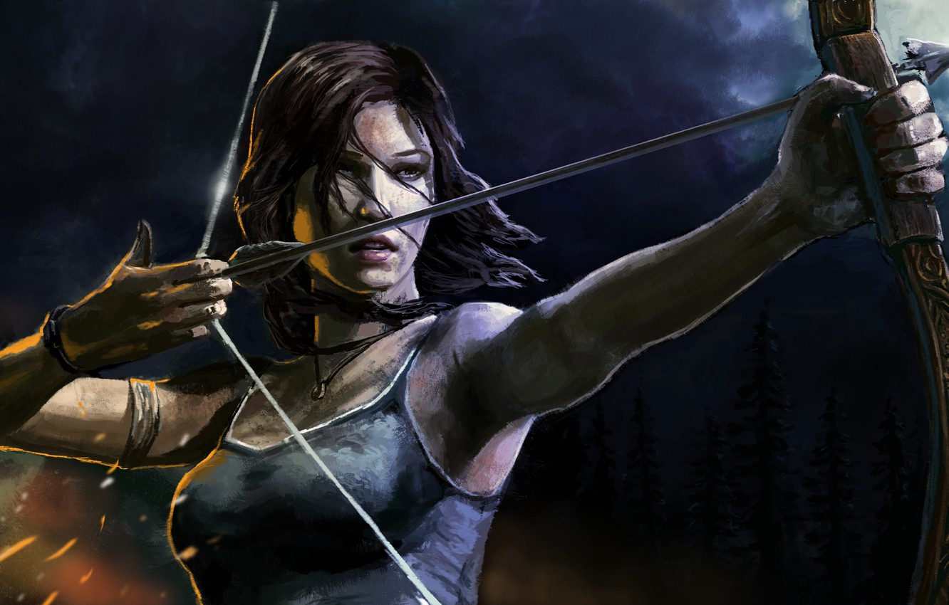 Wallpaper Bow Art Arrow Tomb Raider Lara Croft Lara Croft