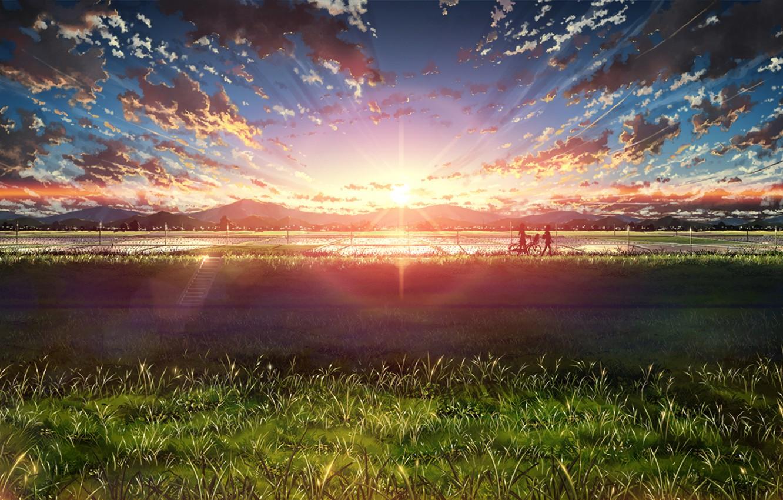 Photo wallpaper field, water, landscape, sunset, bike, people, ladder