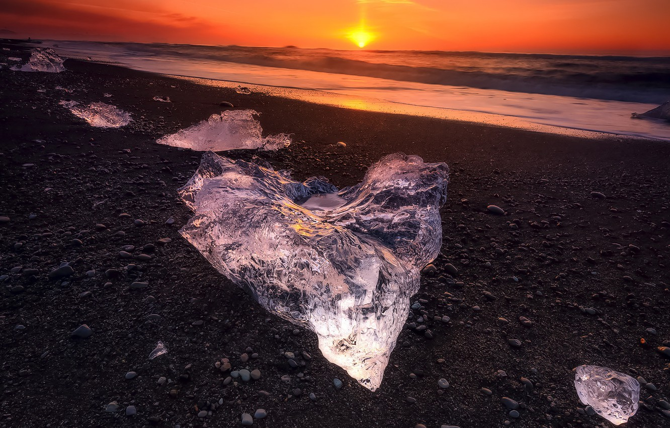 Photo wallpaper Landscape, Water, Sunset, Sunrise, View, Ice, Sea, Cold