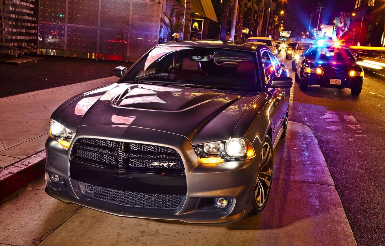 Photo wallpaper Dodge, SRT8, Car, 2012, Charger, Street, SRT, Silver, V-8 engine