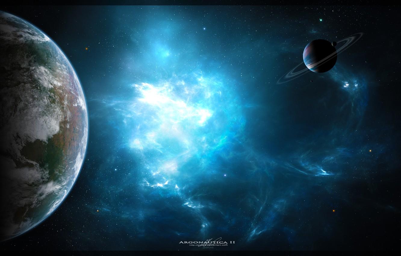 Photo wallpaper space, nebula, planet, art, space, nebula, art, planets