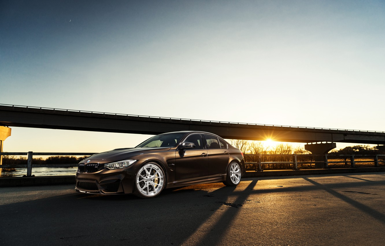Photo wallpaper BMW, Car, Sky, Front, Sunset, Brown, F80