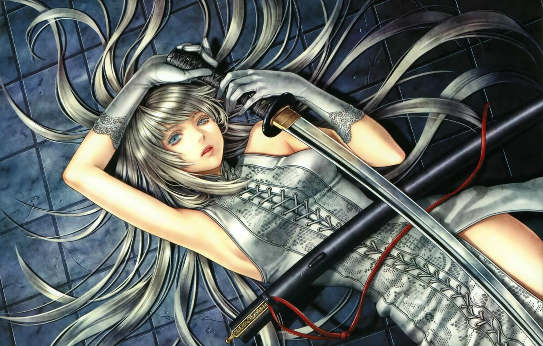 Photo wallpaper girl, katana, gloves, blue eyes, long hair, art, red thread, sheath, lacing, hayabusa yuuki