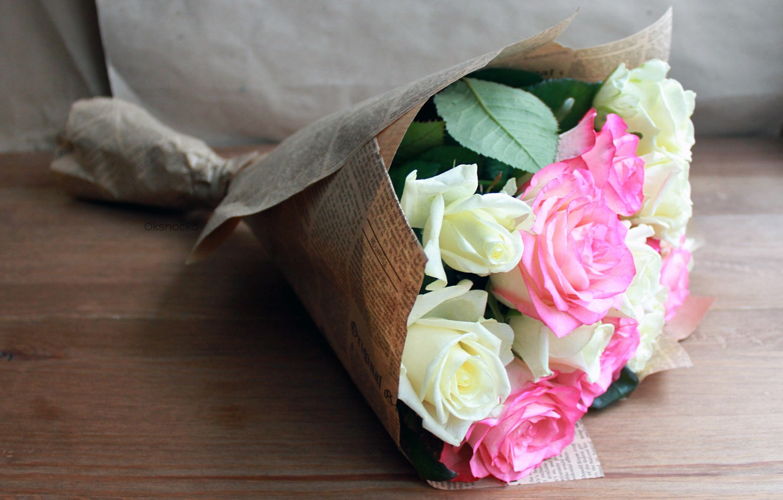 Photo wallpaper flowers, roses, pink roses