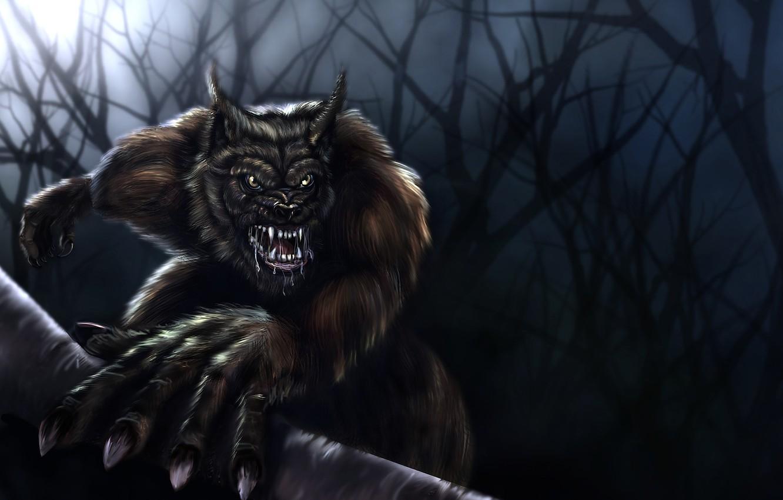 Photo wallpaper trees, night, wolf, werewolf, Werewolf, wolfhound