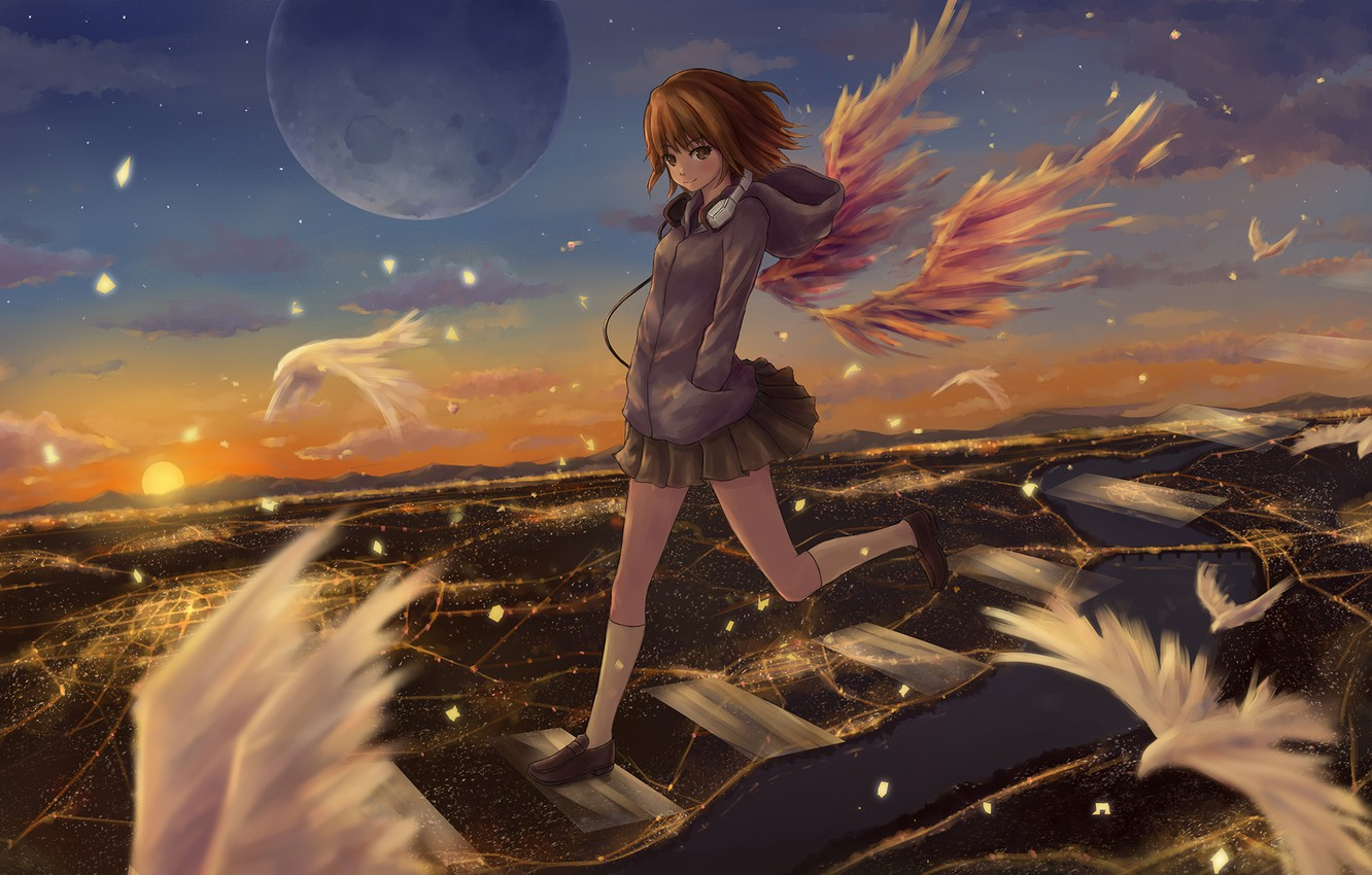 Photo wallpaper the sky, girl, clouds, sunset, birds, the city, lights, smile, magic, the moon, wings, anime, …