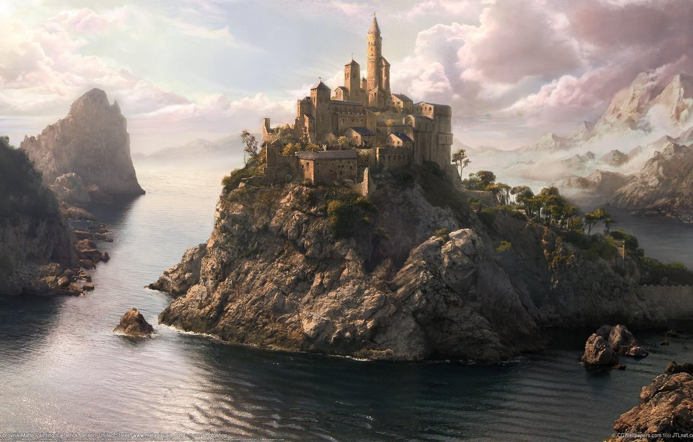 Photo wallpaper sea, the city, fantasy
