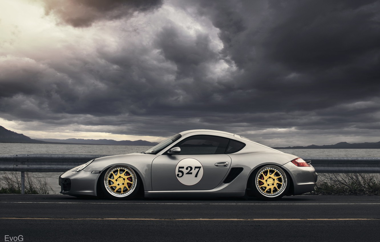 Photo wallpaper Porsche, Cayman, Turbo, silvery, profile