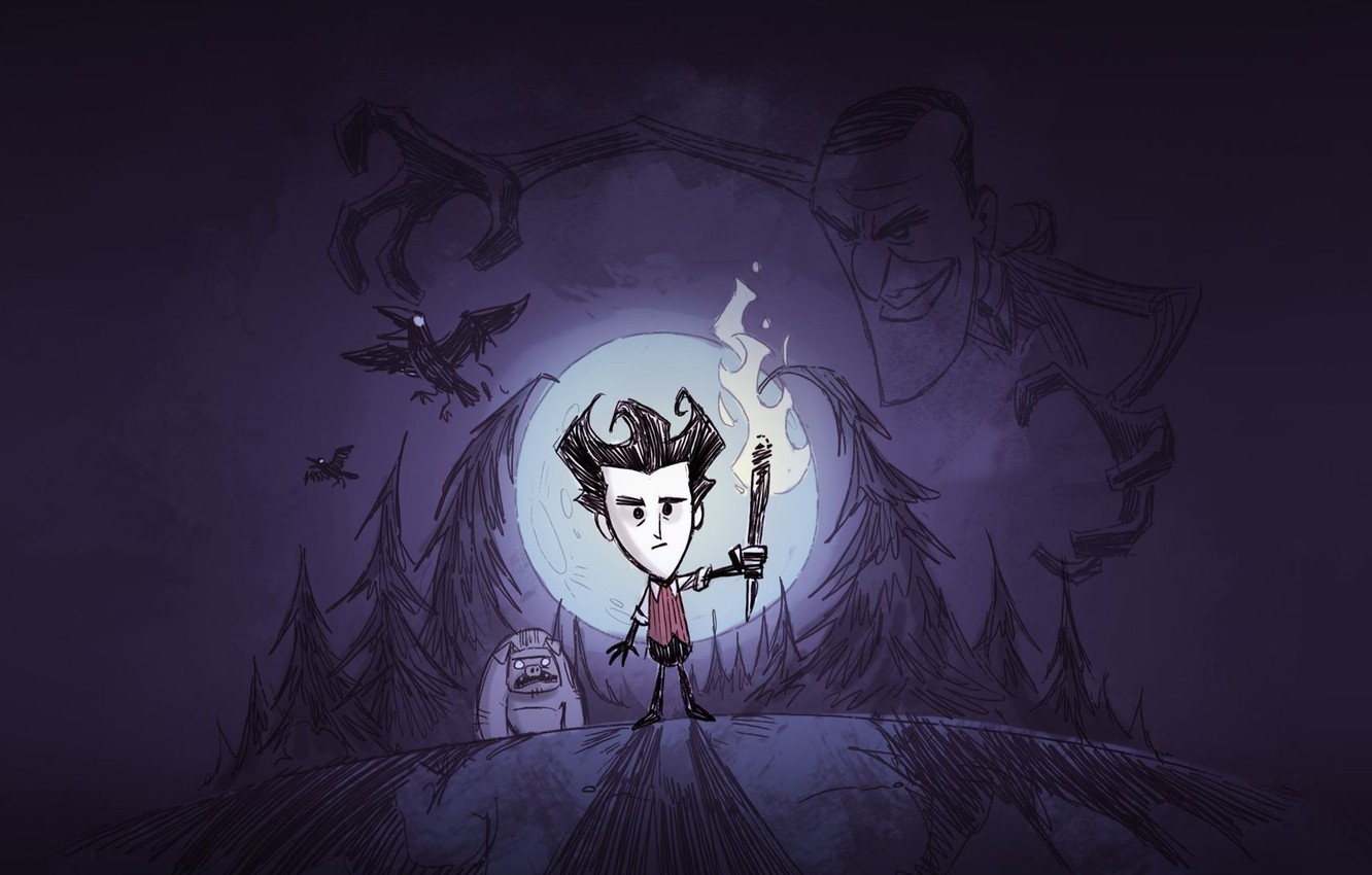 Photo wallpaper Look, The moon, Forest, Shadow, Wilson, Torch, Sven, Klei Entertainment, Scientist, Crows, The owner, Dont …