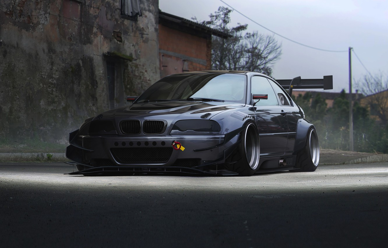 Photo wallpaper BMW, Car, Front, E46, Silver, Widebody, Hugo Silva