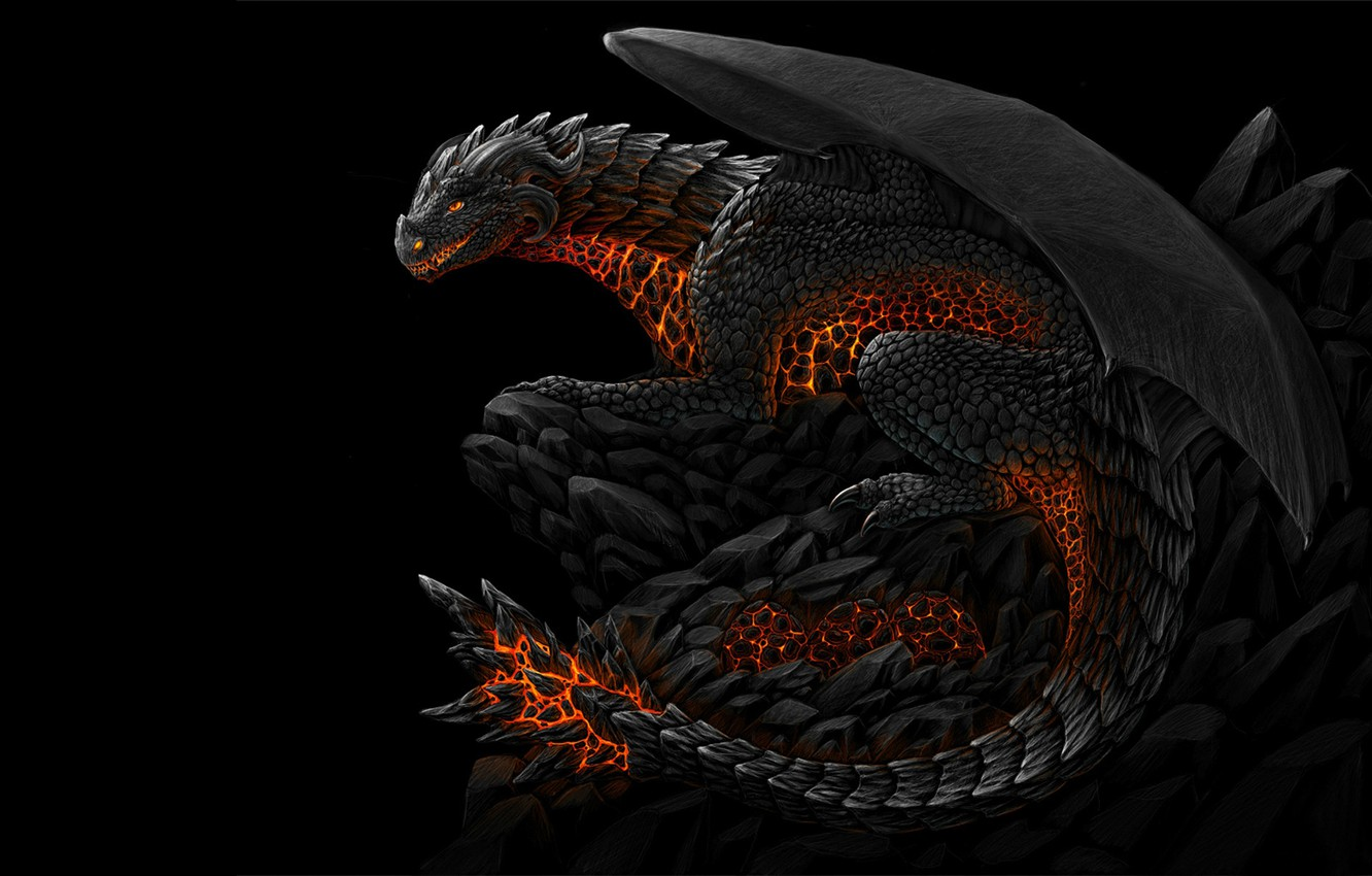 Photo wallpaper darkness, black, dragon, mouth, fire-breathing