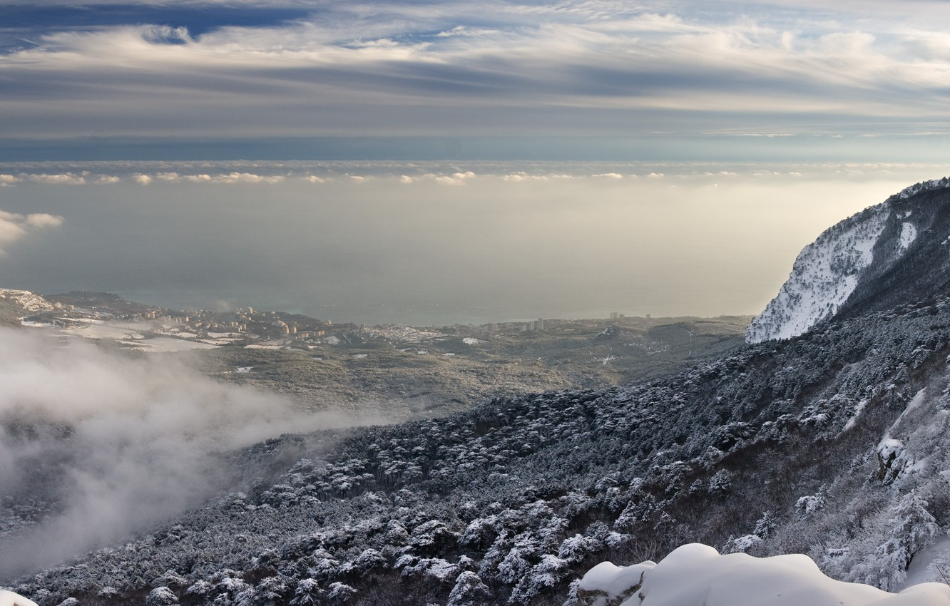 Photo wallpaper The sky, Nature, Clouds, Mountains, Snow, Mountain, Height, Landscape, Valley, Slope, Ukraine, Crimea, AI-Petri