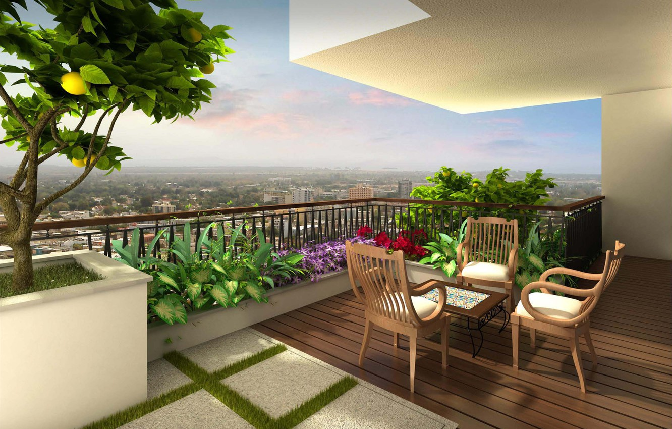 Photo wallpaper flowers, the city, furniture, view, terrace
