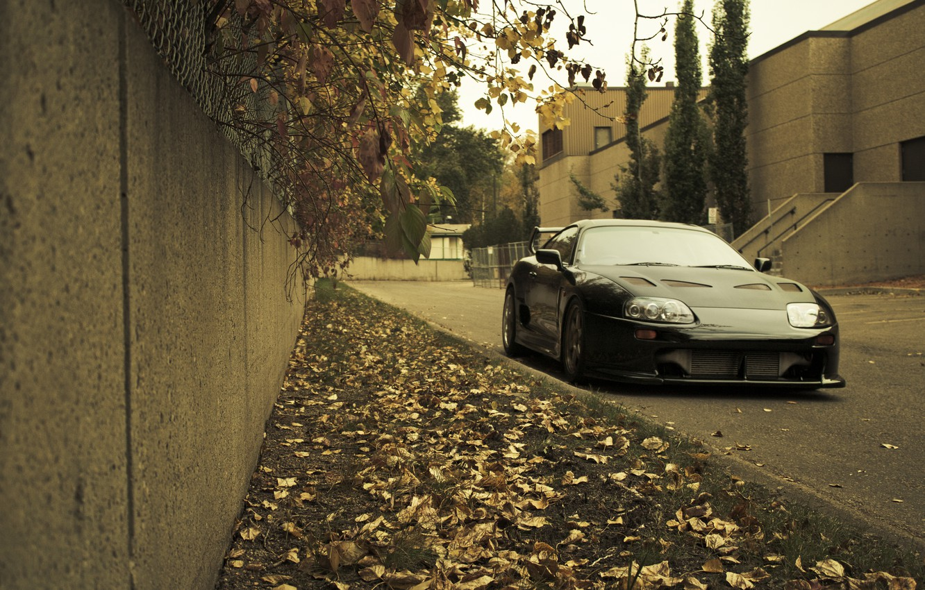 Photo wallpaper autumn, grass, leaves, city, the city, lawn, Toyota, cars, auto, Toyota Supra, wallpapers auto, Wallpaper …