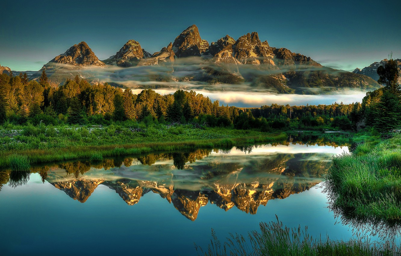Photo wallpaper Grand, Park, Jackson, Landscapes, National, Reflections, Teton, Beaver, Ponds, Hole