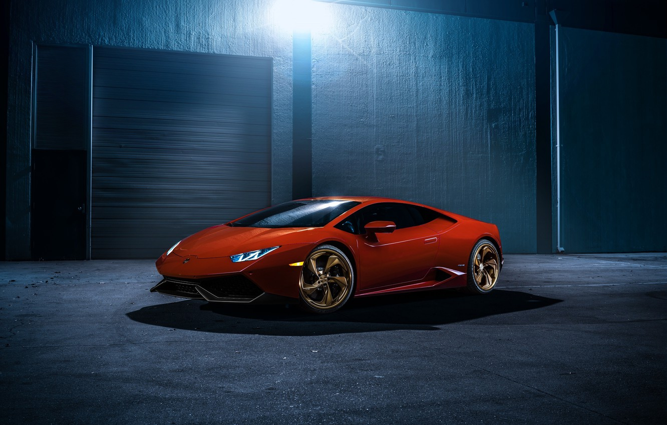 Photo wallpaper night, Lamborghini, red, front, LP 610-4, Huracan, LB724