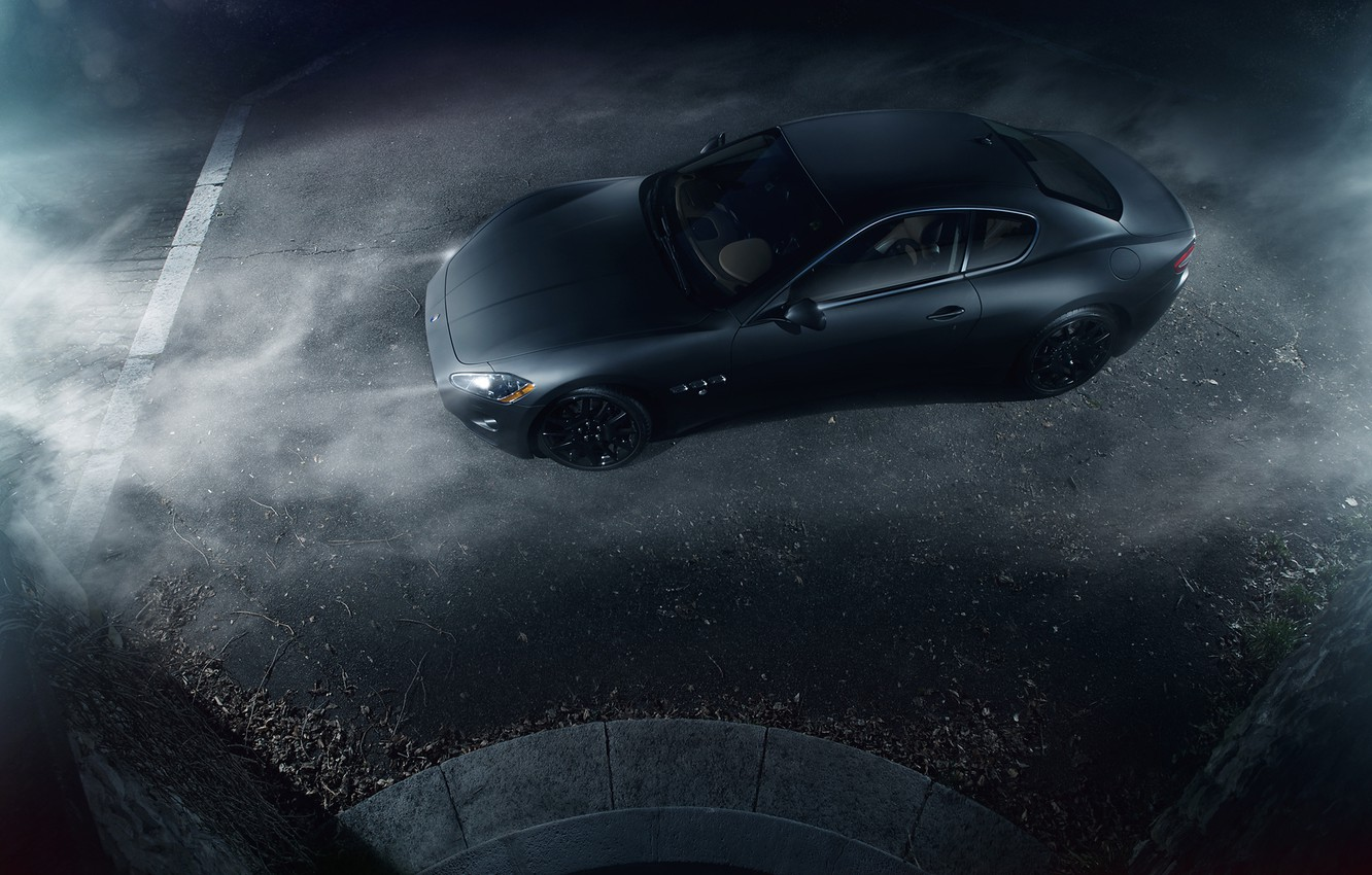 Photo wallpaper Maserati, Turismo, Black, Smoke, Gran, Italian, Exotic