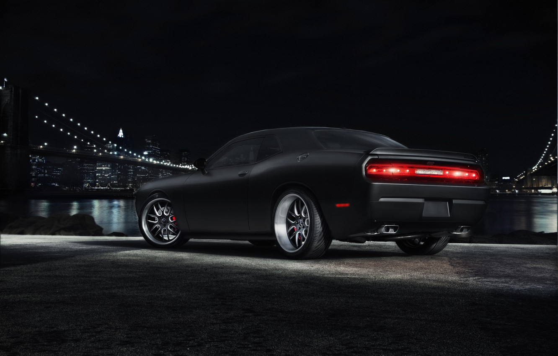 Photo wallpaper night, bridge, the city, black, Dodge, Challenger, muscle car, black, Dodge, megapolis, muscle car, Challenger