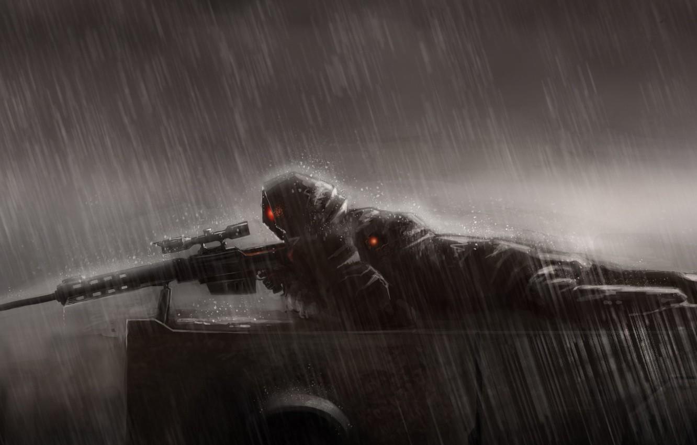 Wallpaper rain, art, lies, sniper, rain