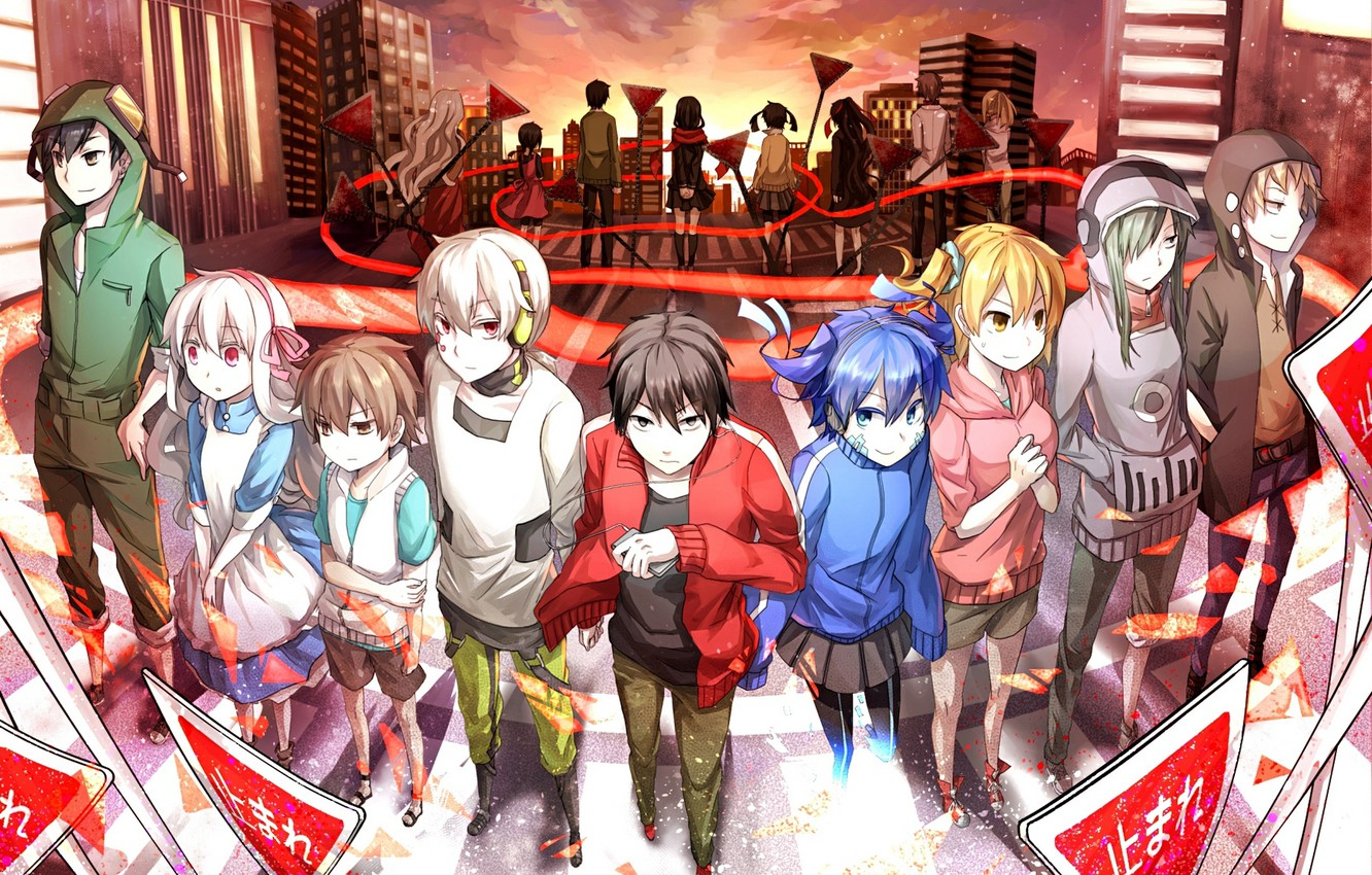 Photo wallpaper sunset, the city, girls, home, anime, headphones, signs, art, player, guys, konoha, kagerou project, ayano …