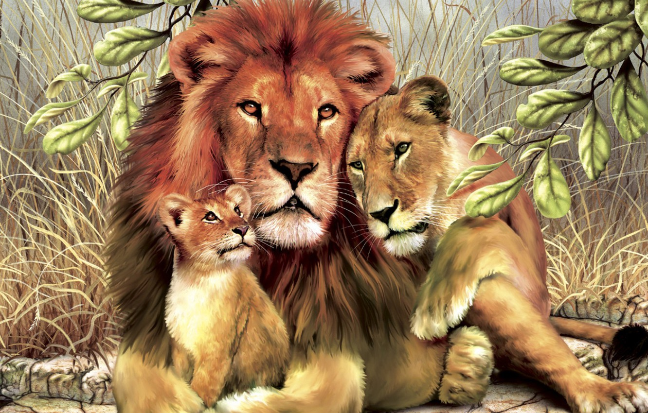 Photo wallpaper leaves, Lions, family
