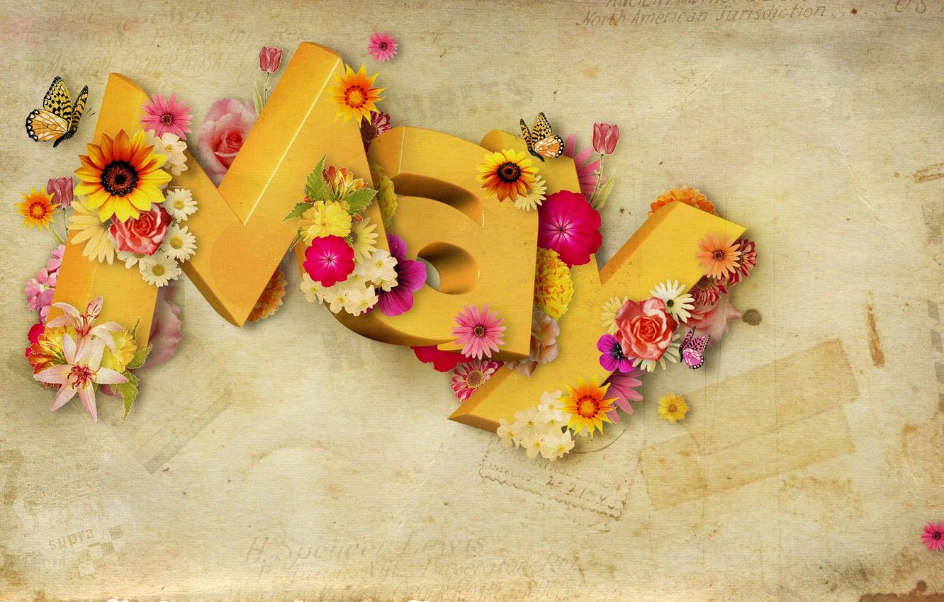 Photo wallpaper butterfly, flowers, letters, May