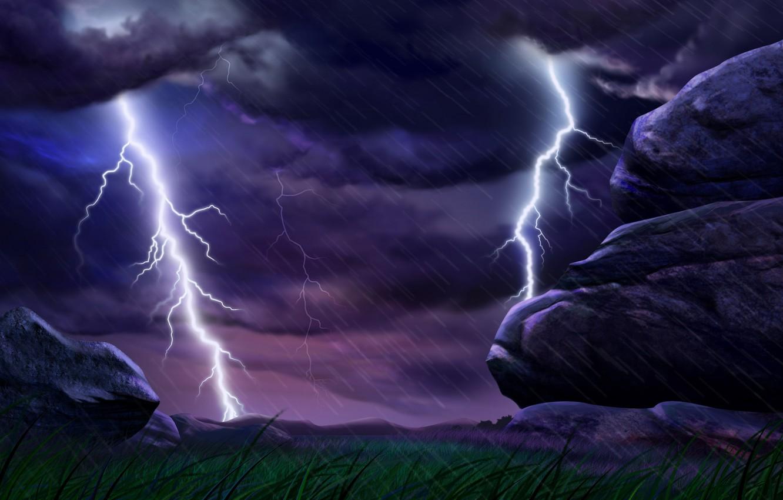 Photo wallpaper the storm, rain, element, lightning, the shower