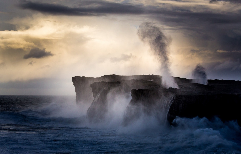 Photo wallpaper sea, squirt, storm, rocks, dawn, coast
