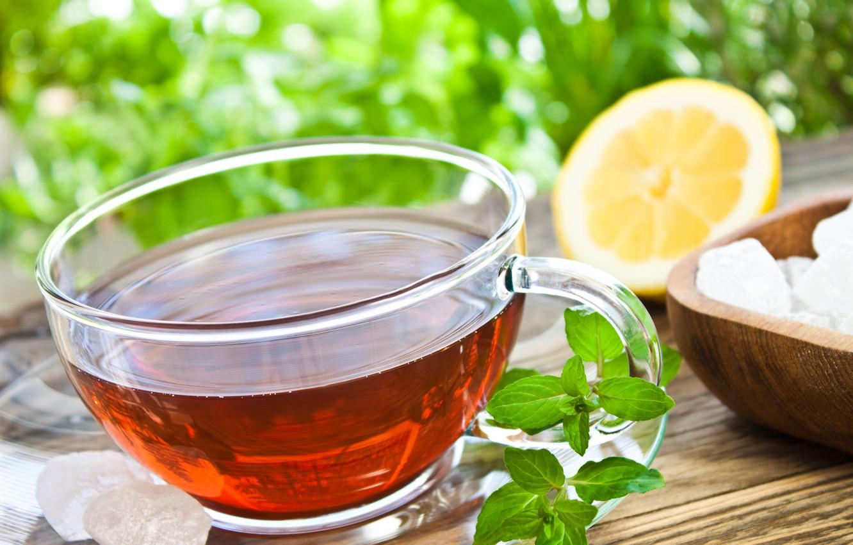 Photo wallpaper table, lemon, tea, Cup, sugar, drink, mint, saucer
