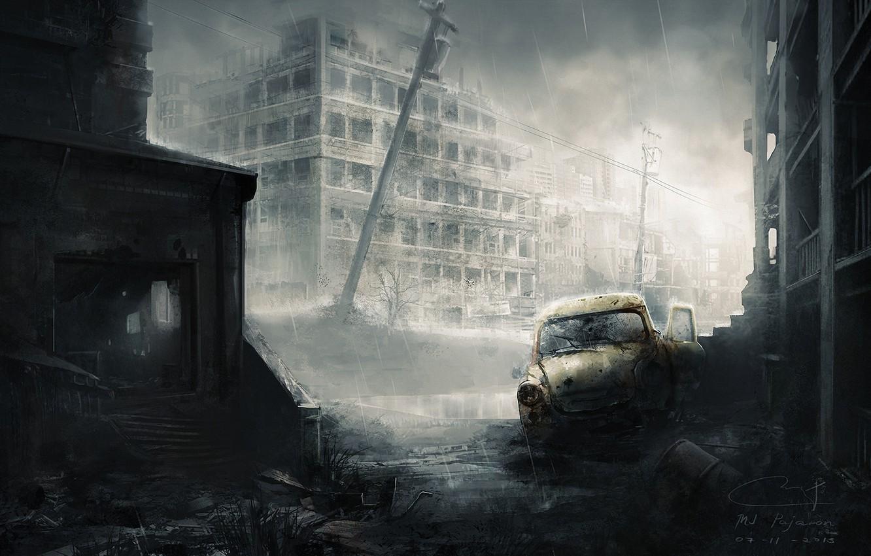Photo wallpaper machine, the city, rain, the skeleton, art, ruins, postapokalipsis