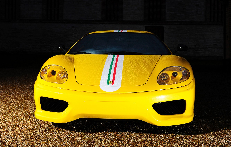 Photo wallpaper Ferrari, front view, 360, yellow, ferrari 360, challenge_stradale