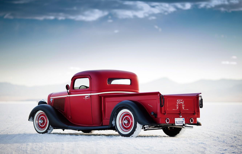 Photo wallpaper car, auto, retro, ford, Ford, truck, pickup, Bonneville Salt Flats