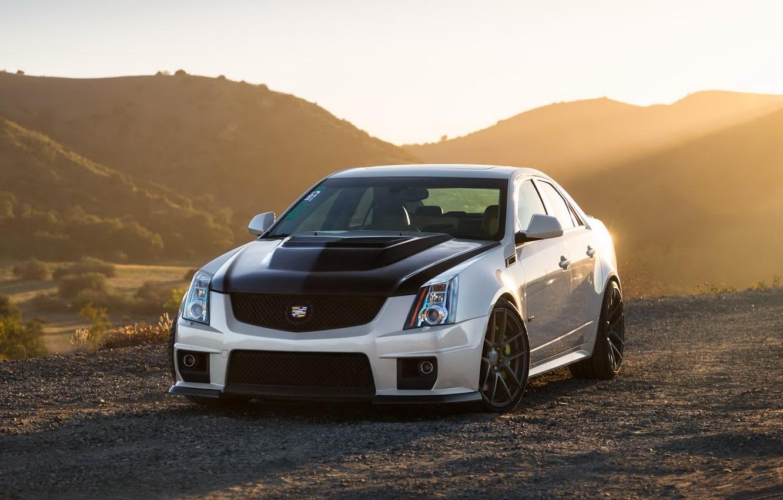 Photo wallpaper Cadillac, CTS-V, Black, White, Wheels