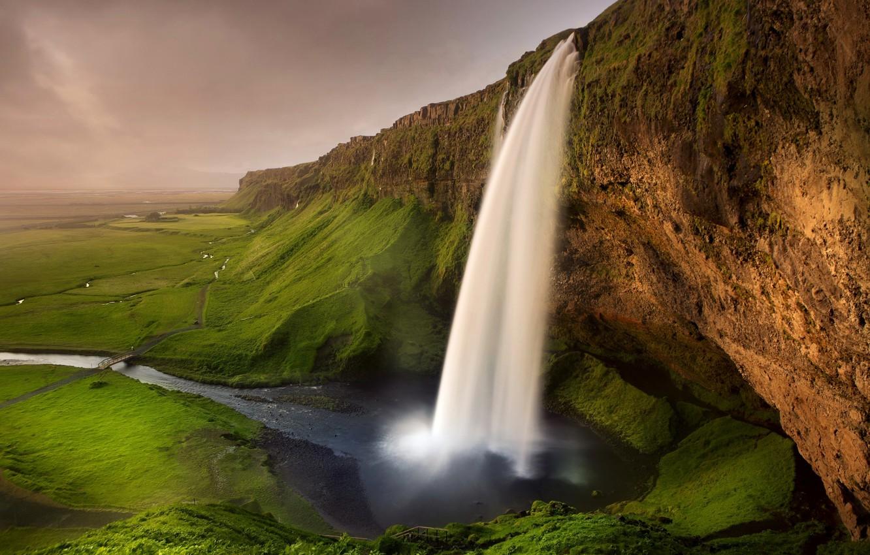Photo wallpaper greens, rocks, waterfall, trail, river, the bridge, Iceland, Seljalandsfoss waterfall