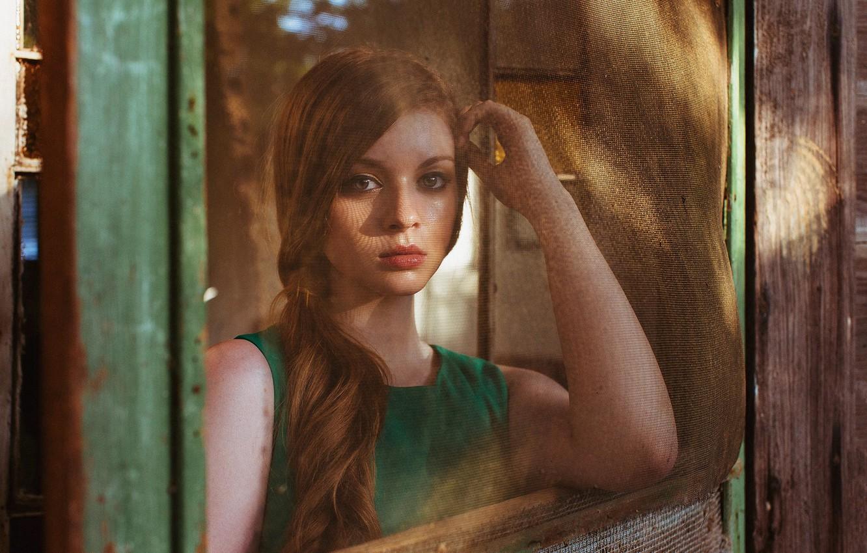 Photo wallpaper background, mesh, portrait, redhead, dress green